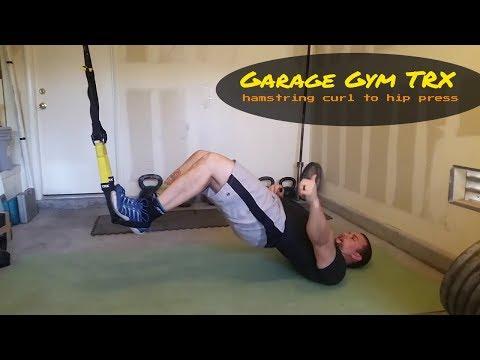 Suspension Hamstring curl to hip press on TRX in my Garage Gym