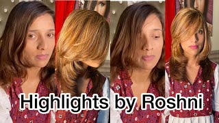 Luxury Caramel Hair Color With Blonde Highlights By Roshni