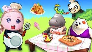 Đồ chơi nhà bếp TIỆM THỨC ĂN NHANH CỦA BÚP BÊ BABY CHIBI ĐỎ Trò chơi Bé Na