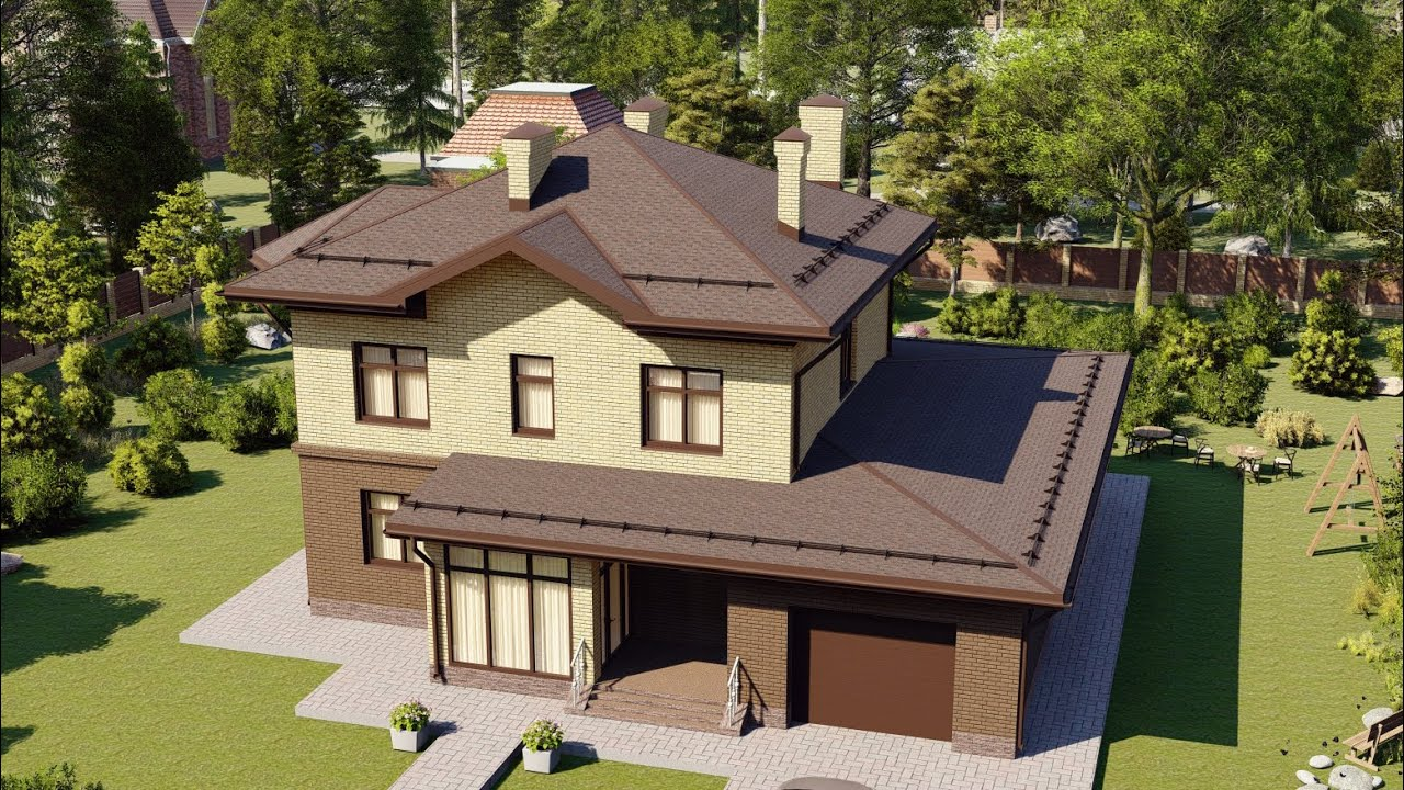 Проект дома из пеноблока с эркером и гаражом 245 м2