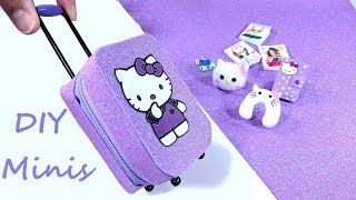 DIY Hello Kitty Miniatures - Zippered Suitcase, Travel Accessories, Etc.