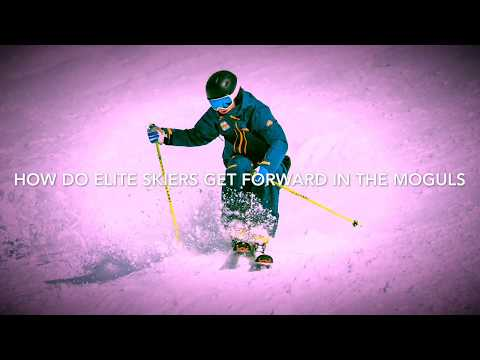 How do elite skiers get forward in the moguls?