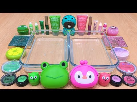 GREEN vs PINK | Mixing Makeup Eyeshadow into Clear Slime ! Special Series #33 Satisfying Slime Video