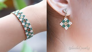Cluster Diamond Jewelry Set With Only Seed Beads. Bracelet And Earrings. Beading Tutorial