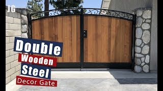 Decorative Double Wood Steel Gate | JIMBOS GARAGE