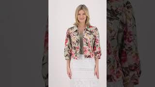 Vorschau: Jeansjacke mit Blumenprint und ¾ Arm