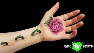 ✅3D BODY PAINT ILLUSION: Pretty Rose Makeup Tutorial