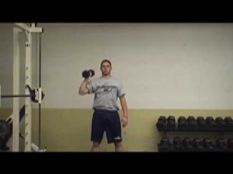 One Arm Dumbbell Press palms in