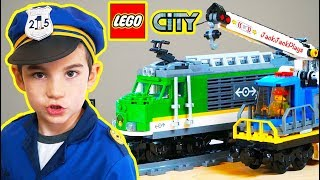 Lego City Cargo Train Unboxing + Pretend Play Police Intro Skit | JackJackPlays