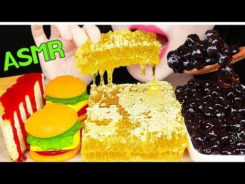 ASMR RAW HONEYCOMB, BOBA PEARLS, HAMBURGER GUMMY, CHEESE CAKE 벌집꿀, 치즈케이크, 햄버거 젤리 먹방 EATING SOUNDS