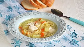 Суп лапша с курицей и картошкой