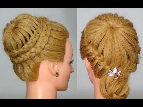 "Прическа с плетением ""Снежинка"" / ""Паутинка""!  Crown Braid. Updo Hairstyles"