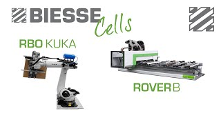 preview picture of video 'Biesse Cells - Rover B - Kuka - 2 Steps MDF Panel Processing'