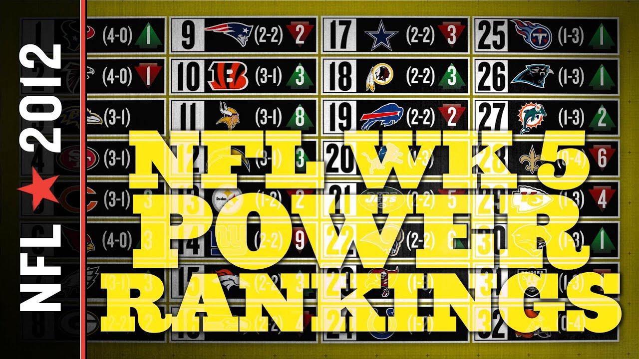 2012 NFL Power Rankings, Week 5 thumbnail