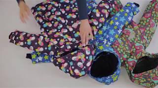 """Весенний комбинезон """"Пирамидка"""" для девочки (розово-фиолетовый, 86 см UKI (Юки) Мембранный - видео 1"""
