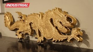 CNC Project: 3D Foam Golden Dragon w/2D/3D Carving ZrN Coated Amana Tool Industrial Router Bits