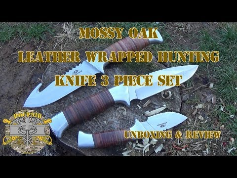 Mossy Oak Leather Wraped Hunting Knife 3 Piece Set – Unboxing & Review