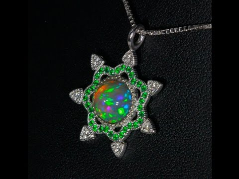 Welo Opal Pendant with Tsavorite and Diamond