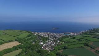 Aerial approach to Mousehole Harbour