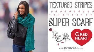 Knit Textured Stripes Super Scarf