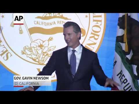 Gavin Newsom was sworn in as governor of California on Monday. A protester disrupted the event, blaming Newsom for the death of a police officer allegedly killed by a man who authorities say is in the country illegally. (Jan. 8)
