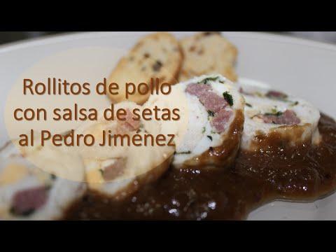 Rollitos de Pollo con Salsa de Setas al Pedro Jiménez