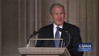 President George W. Bush tribute to his father President George H.W. Bush - FULL REMARKS (C-SPAN)