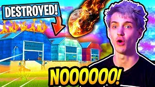 NINJA REACTS TO THE *METEOR* CRASHING INTO DUSTY DEPOT!! RIP DUSTY?! Fortnite SAVAGE & FUNNY Moments
