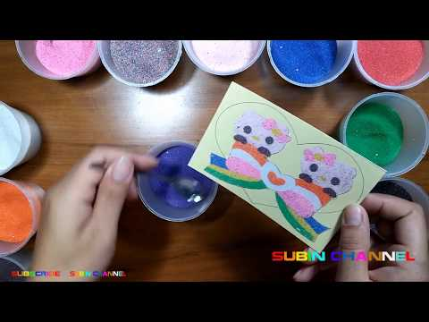 Baby coloring paintings by sand | Hello kitty heart shape