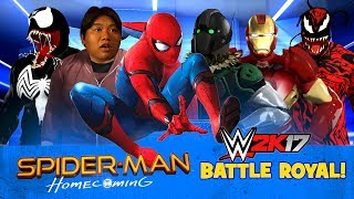 WWE 2k17 Spider-Man Homecoming Movie Battle Royal with Iron Man & Vulture Fight!