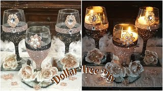 DIY DOLLAR TREE BLING CANDLE HOLDER | GLAM WEDDING CENTERPIECE IDEAS 2019