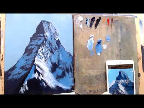 An excerpt from one of my video lessons about how to paint a mountain.