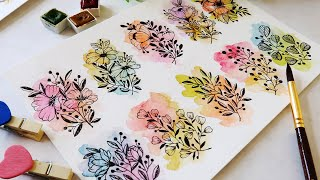 10 Easy Flower Doodles  Watercolor Flowers &leaves Doodle For Beginners Learn To Draw& Paint Florals