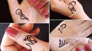 Couple Alphabet Mehndi Tattoos   Y❤I  N❤O  H❤P  Y❤R  V❤P