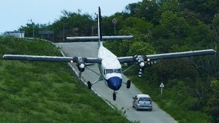 CRAZY downhill LANDINGS at St. Barth - Dangerous Airport