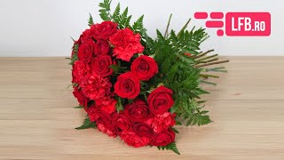 Video Buchet seducator din trandafiri si garoafe rosii