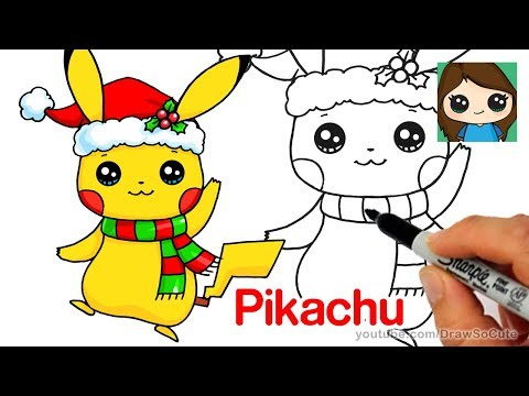 How to Draw Christmas Pikachu Easy | Pokemon