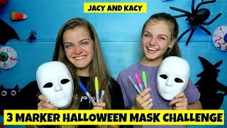 3 Marker Halloween Mask Challenge ~ Fun DIY Masks ~ Jacy and Kacy