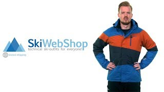 Kilpi, Kally ski jacket, men, plus size, blue-brown-black