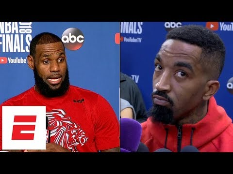 LeBron James and JR Smith react to video of Cavaliers bench after Game 1 going viral | ESPN