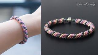 Russian Spiral Seed Beads Bracelet Tutorial. Beaded Jewelry
