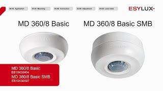Montage & Installation: Bewegungsmelder MD 360/8 BASIC und MD 360/8 BASIC SMB