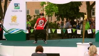 preview picture of video 'Olympic Torch 2012 at Wrexham 30th May - Tom dancing'