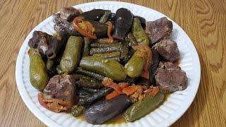 اطيب محشي كوسى وباذنجان مع ورق عريش Most Delicious Mahshi squash, eggplant and grape leaves (Dolma)