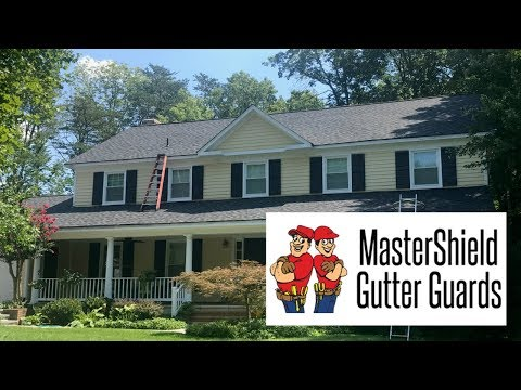 This home in Rockville, MD had a couple of very long runs of gutter that needed to be protected. We first replaced the old gutters with new ones. Then we protected them for life with MasterShield.