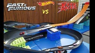 Hot Wheels Speed Racers vs Fast & Furious Fat Track Mega Highway Tournament race/best car toy