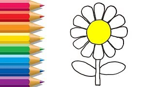 How To Draw Flowers | Learning Rainbow Colors For Kids | Flowers Coloring Pages With Colored Markers