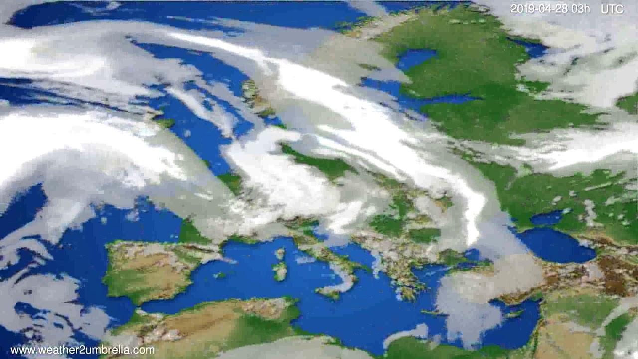 Cloud forecast Europe // modelrun: 00h UTC 2019-04-25