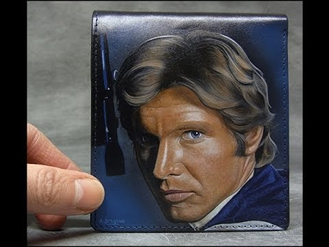 Video Thumbnail of Han Solo portrait on leather wallet using Angelus acrylic leather paint.