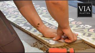 Zementfliesen verlegen und pflegen